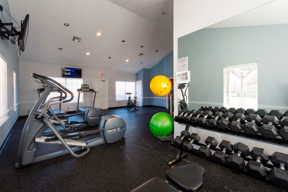 Beautiful fitness center at Parcside in College Station, Texas