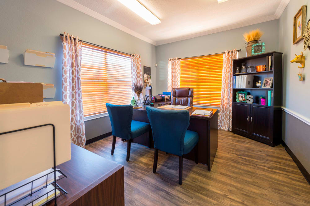 Comfortable leasing office at Parcside in College Station, Texas