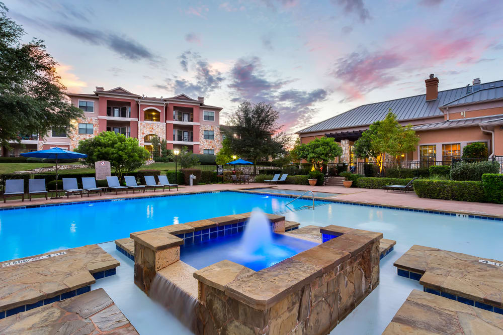 Spacious swimming pool at Onion Creek Luxury Apartments in Austin, Texas