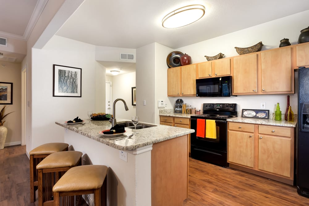 Enjoy apartments with a modern kitchen at Onion Creek Luxury Apartments in Austin, Texas