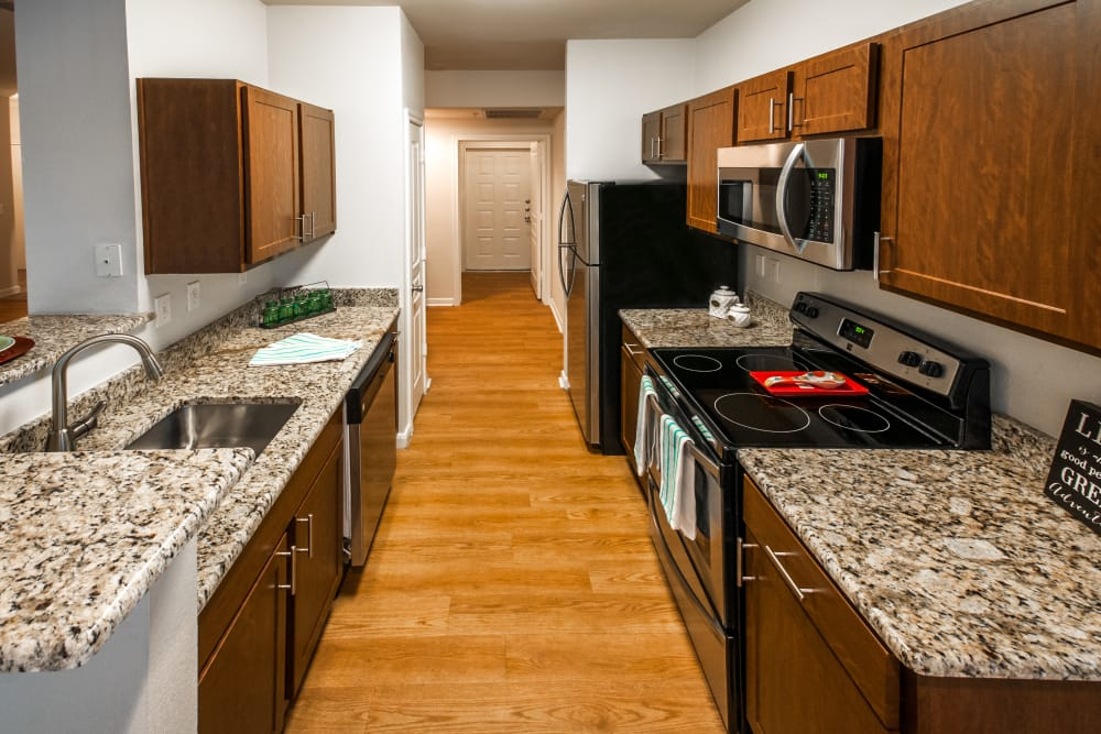Well equipped kitchen at Sedona Ranch Apartments in San Antonio, Texas