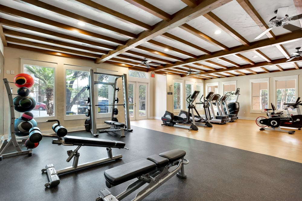 Modern fitness center at Sedona Ranch Apartments in San Antonio, Texas