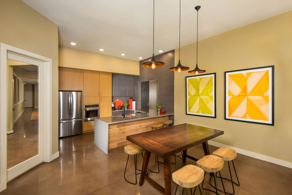 Dining room and kitchen at Southern Avenue Villas in Mesa, Arizona