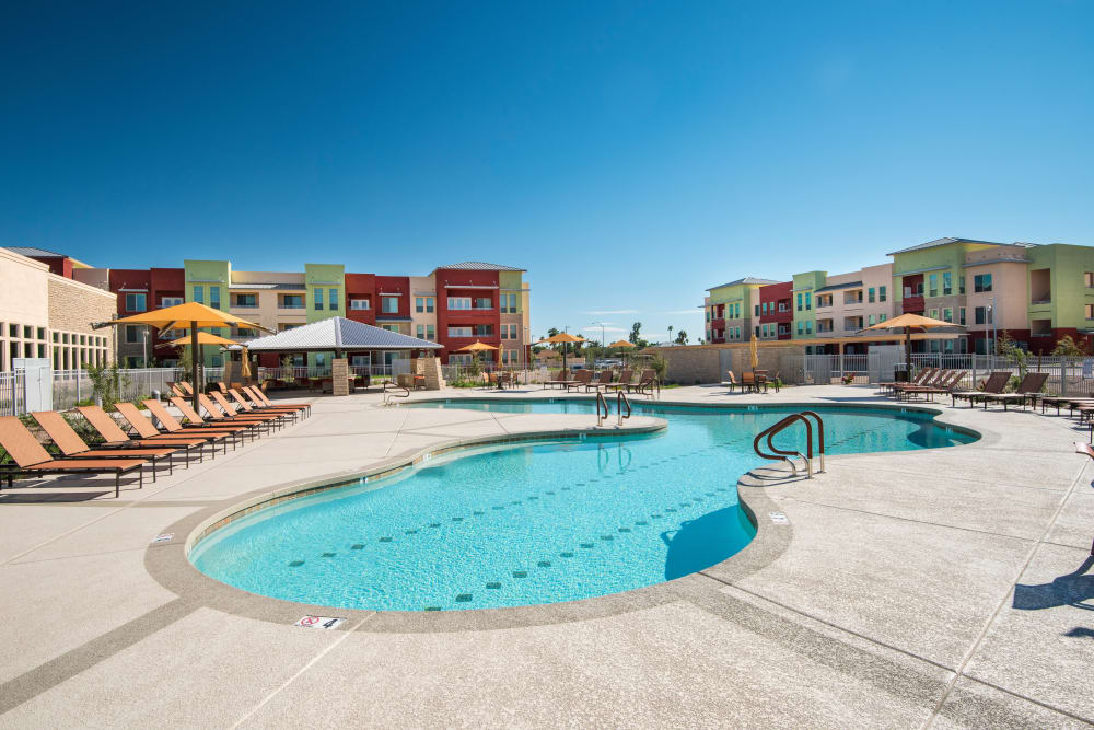 Luxury swimming pool at apartments in Mesa, Arizona
