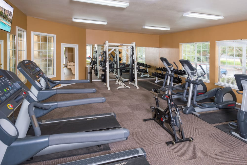 Enjoy apartments with a state-of-the-art fitness center at Stoneybrook Apartments & Townhomes in San Antonio, Texas