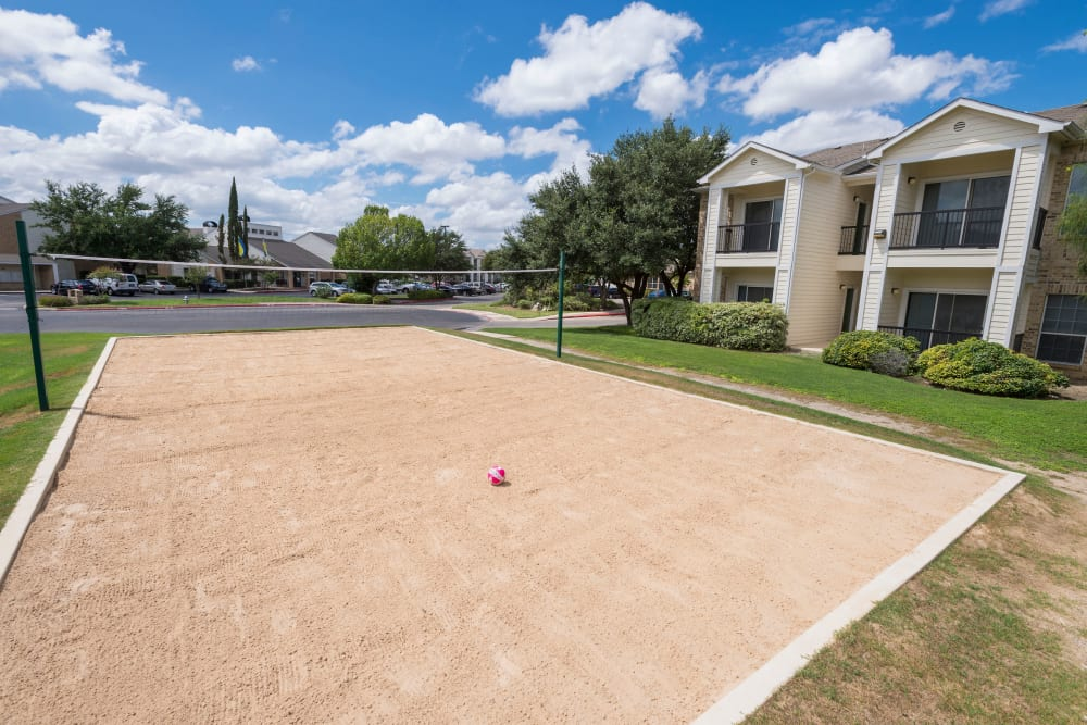 Sand volleyball court at Stoneybrook Apartments & Townhomes in San Antonio, Texas