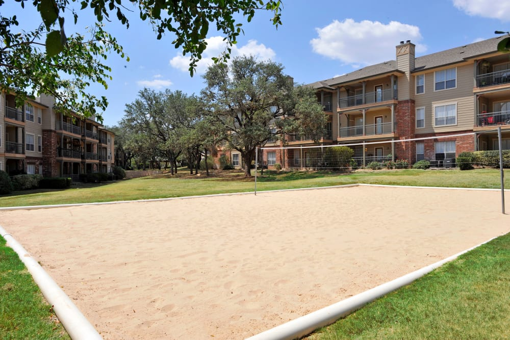 The Estates of Northwoods in San Antonio, Texas showcase a sand volleyball court