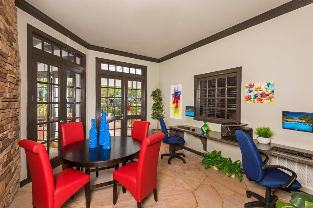 Business center at The Lodge at Shavano Park in San Antonio, Texas
