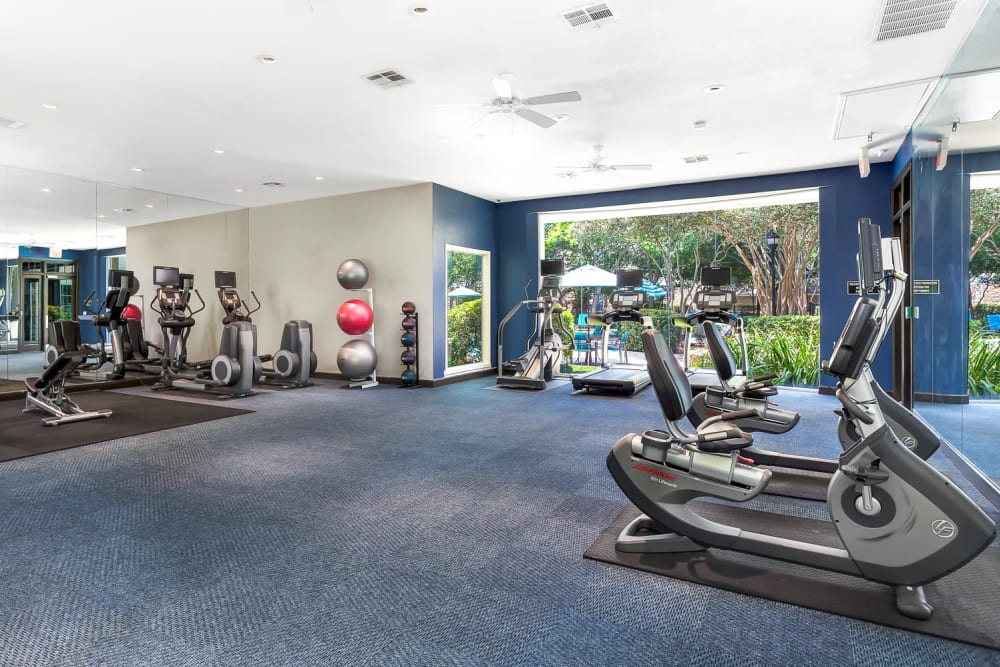 Modern fitness center at The Lodge at Shavano Park in San Antonio, Texas
