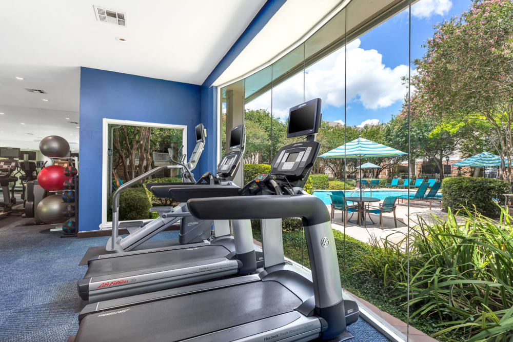 Well equipped fitness center at The Lodge at Shavano Park in San Antonio, Texas