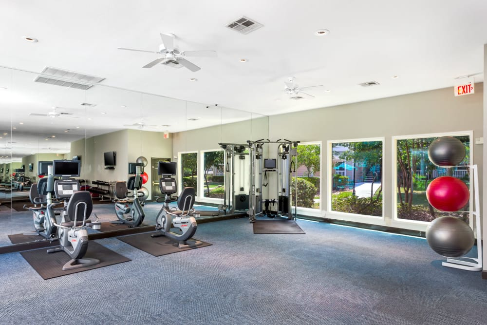 Enjoy our spacious fitness center at The Lodge at Shavano Park in San Antonio, Texas
