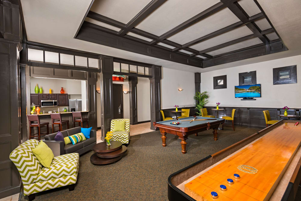 Game room at The Lodge at Shavano Park in San Antonio, Texas