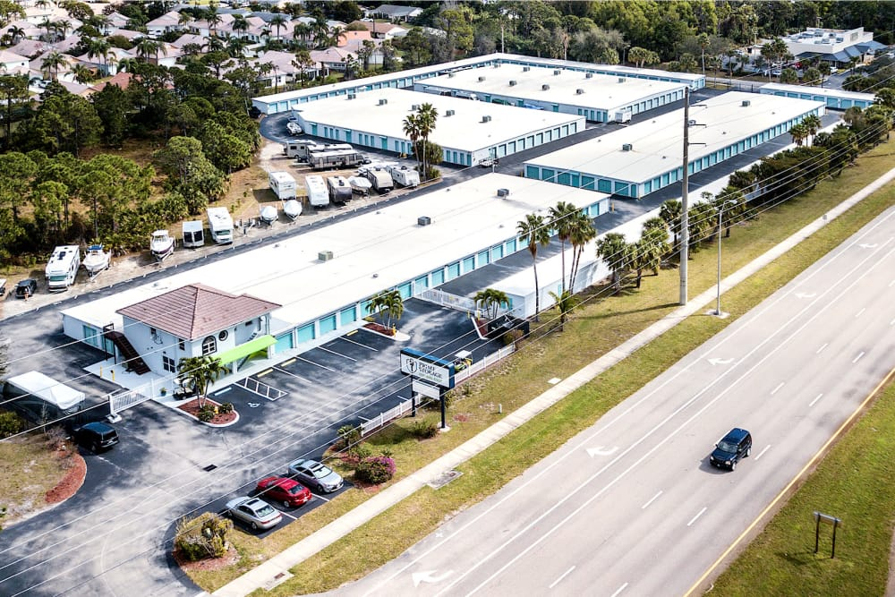 Aerial view of Prime Storage in Stuart, Florida