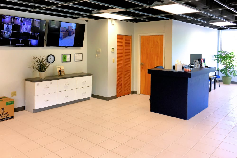 Interior of Prime Storage leasing office in Cinnaminson, New Jersey