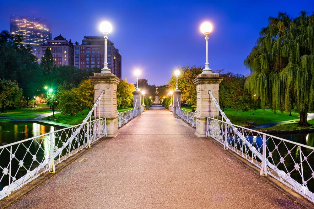 Bridge at night near Boylston Crossing Apartment Homes in Boston, MA