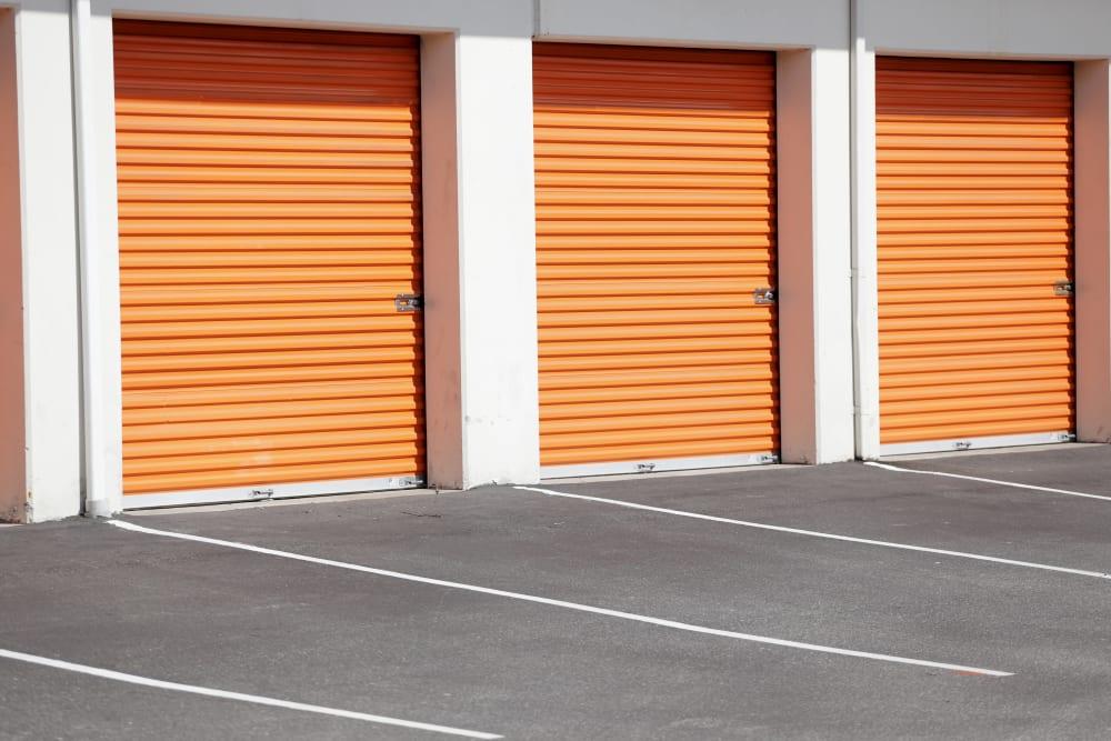 Orange garage doors at Monster Self Storage in Savannah, Georgia