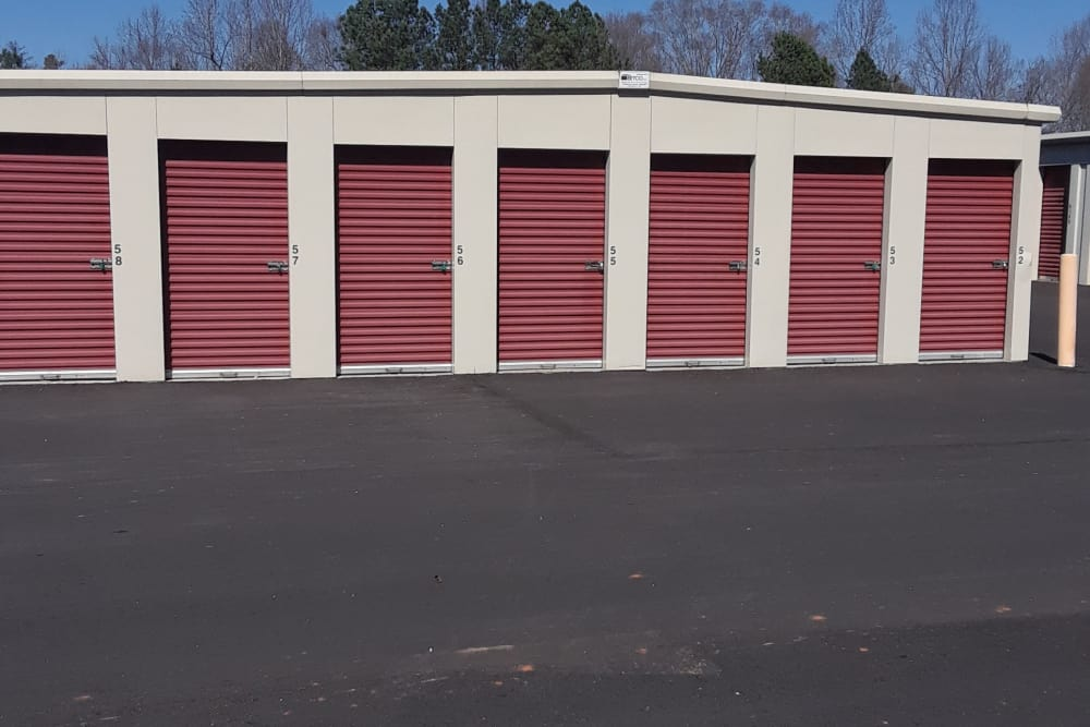 Rows of storage units at Monster Self Storage in Westminster, South Carolina