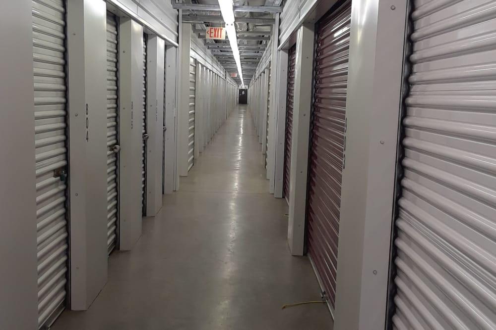 Monster Self Storage hallway of storage units in Westminster, South Carolina