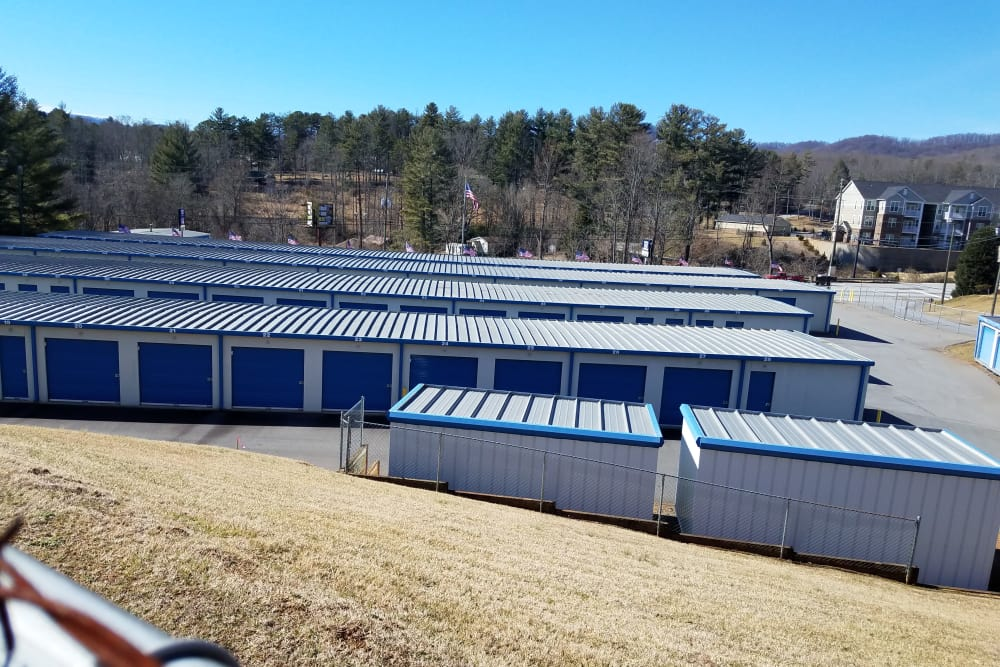 Storage unit buildings at Monster Self Storage in Asheville, North Carolina
