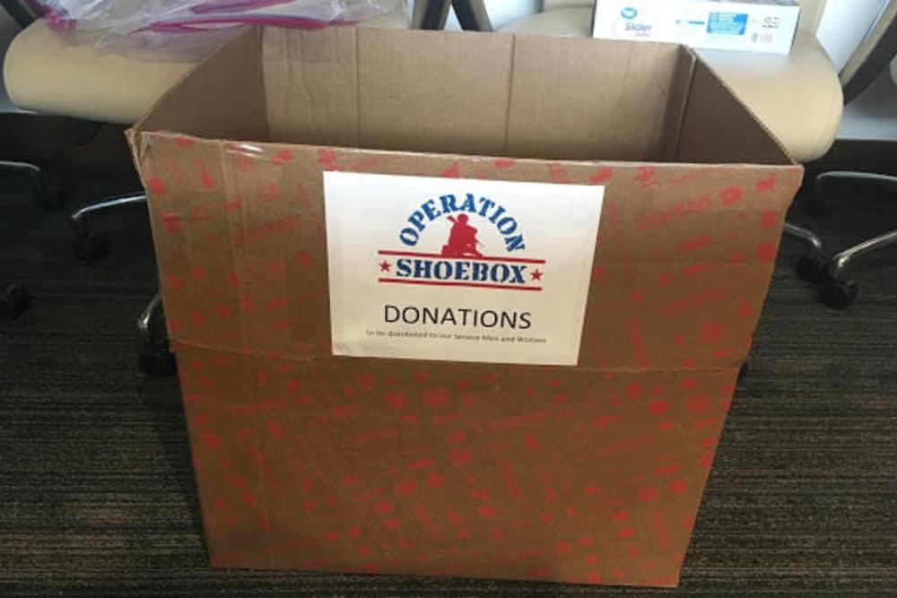 A donation box at Discovery Senior Living in Bonita Springs, Florida