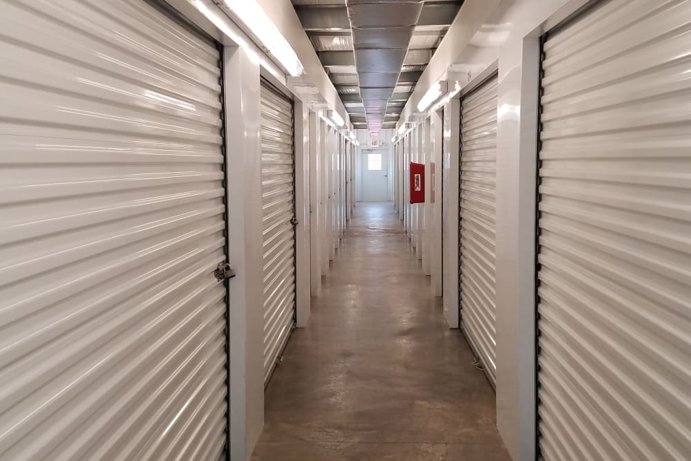 Hall of storage units at Monster Self Storage in Ocean Isle Beach, North Carolina