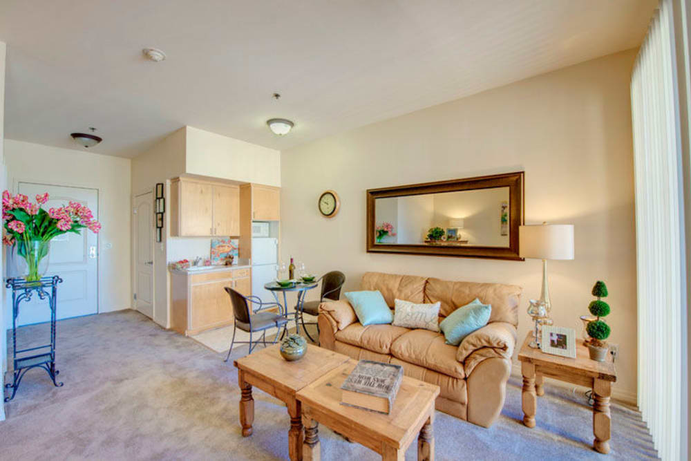 Cozy living room at Regency Grand at West Covina in West Covina, CA