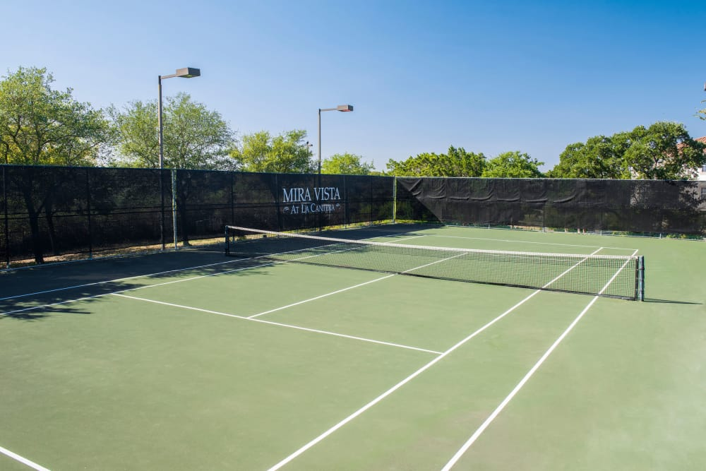 State-of-the-art tennis court at apartments in San Antonio, Texas