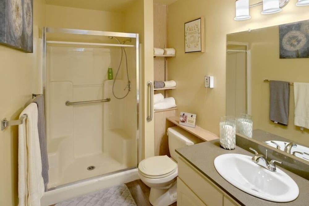 Apartment bathroom at Sagebrook Senior Living at Bellevue