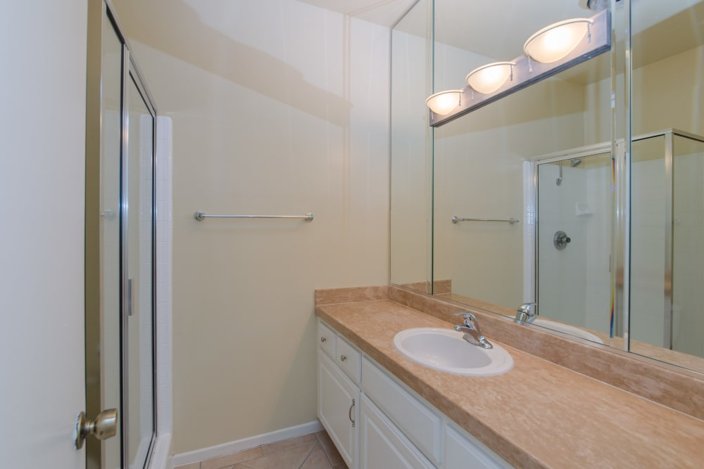 Spacious bathroom in model home at IMT Beverly Arnaz in Los Angeles, CA
