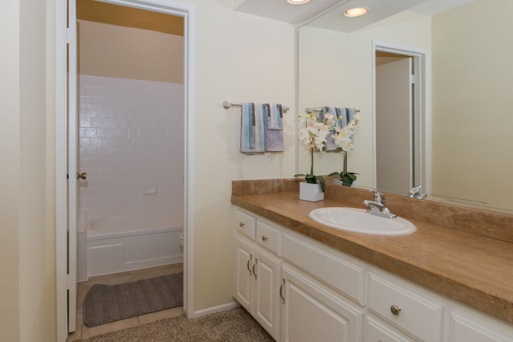 Shower and beautiful countertops in spacious bathroom of model home at IMT Beverly Arnaz in Los Angeles, CA