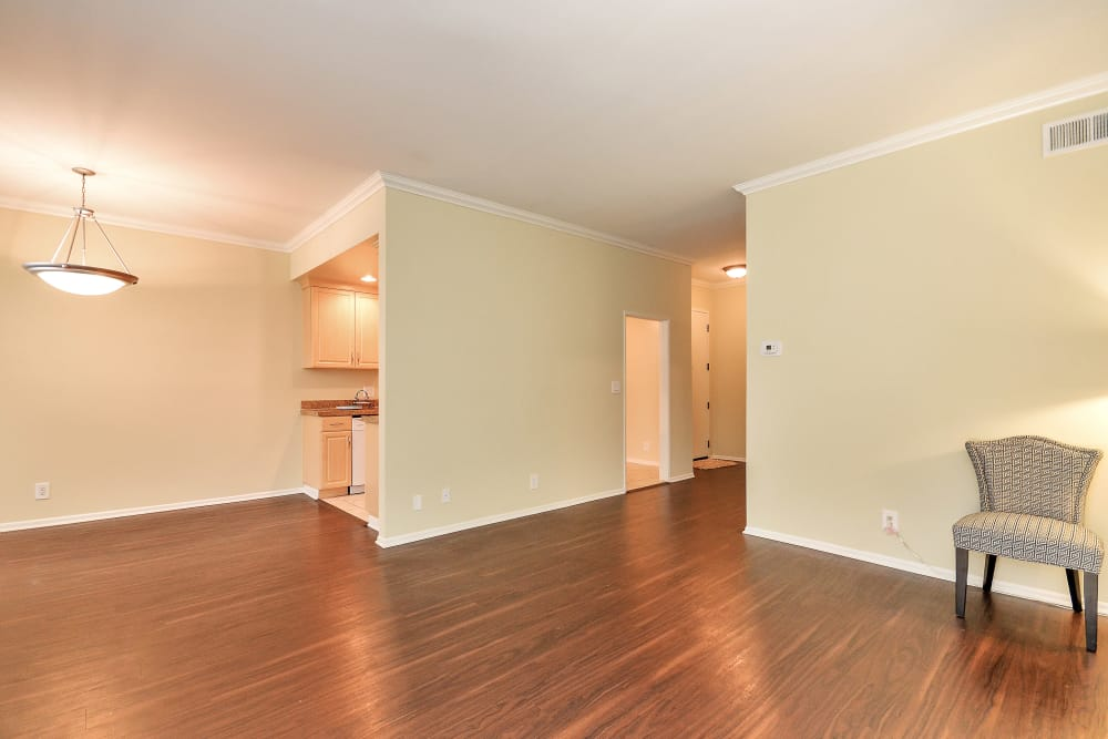 Beautiful hardwood floors in model home at IMT Beverly Arnaz in Los Angeles, CA