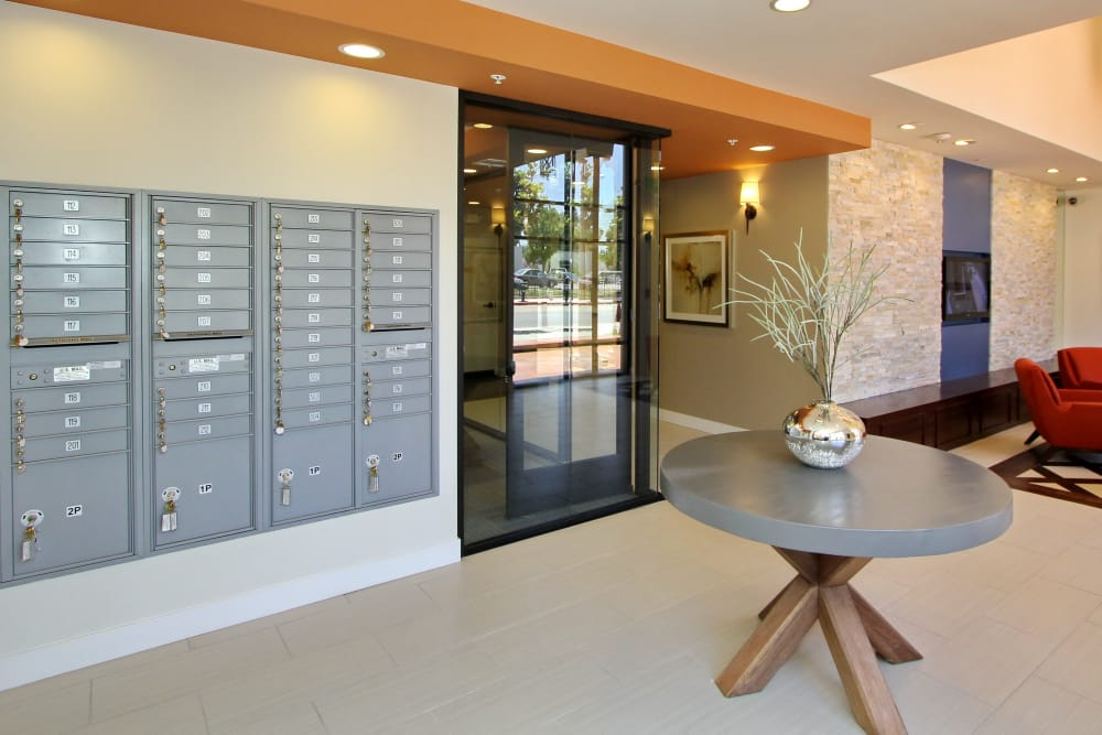Mailboxes and modern common area at IMT Magnolia in Sherman Oaks, CA