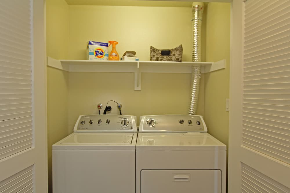 In-unit washer and dryer in model home at IMT Magnolia in Sherman Oaks, CA