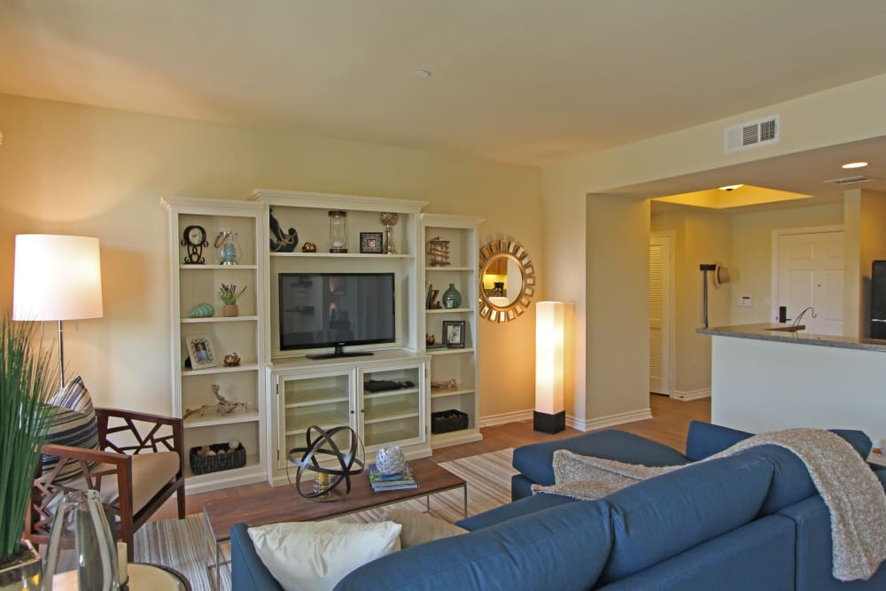 Well-decorated living room in model home at IMT Magnolia in Sherman Oaks, CA