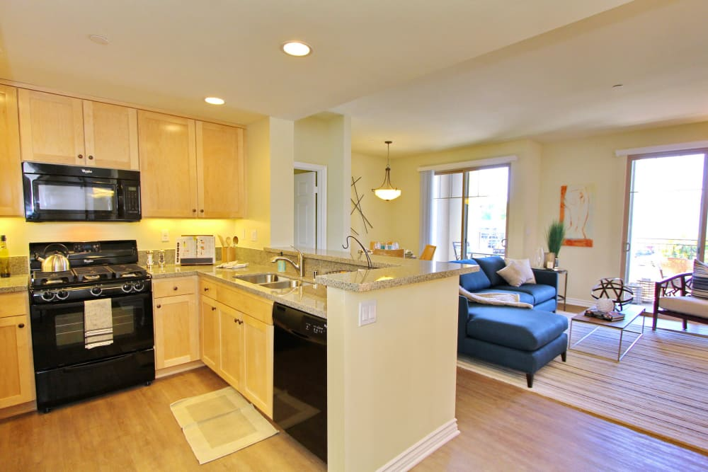 Modern kitchen and open-concept floor plan in model home at IMT Magnolia in Sherman Oaks, CA