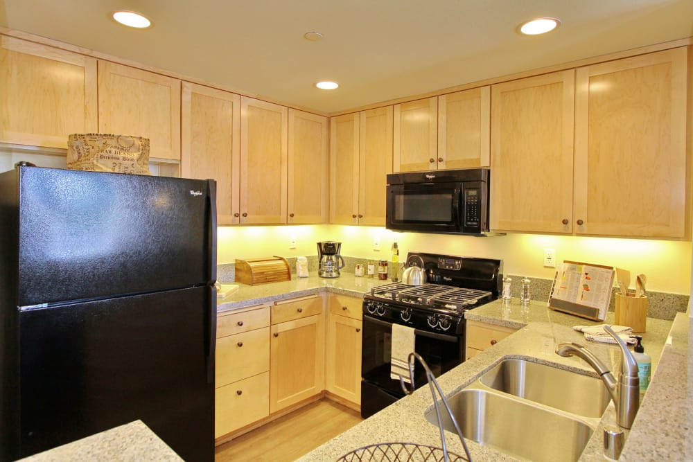 Beautiful black appliances and granite countertops in model home kitchen at IMT Magnolia in Sherman Oaks, CA