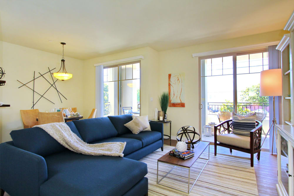 Bright and spacious living room of model home at IMT Magnolia in Sherman Oaks, CA