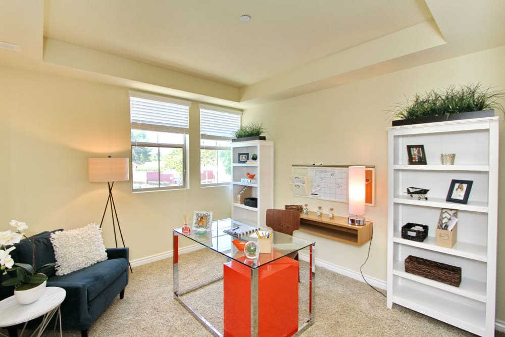 Bedroom turned into fantastic home office in model home at IMT Magnolia in Sherman Oaks, CA