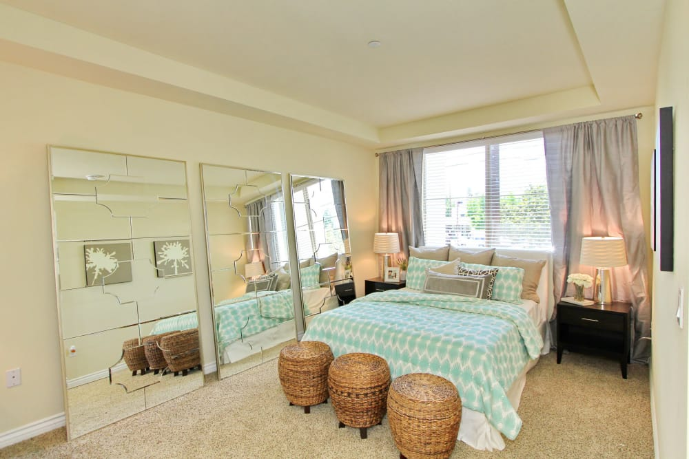 Bright and roomy master bedroom in model home at IMT Magnolia in Sherman Oaks, CA