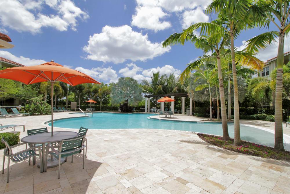 Resort-style swimming pool area at IMT Miramar in Miramar, Florida