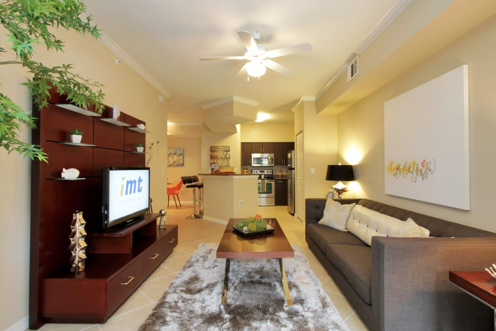 Long view of open-concept luxury apartment home interior at IMT Miramar in Miramar, FL