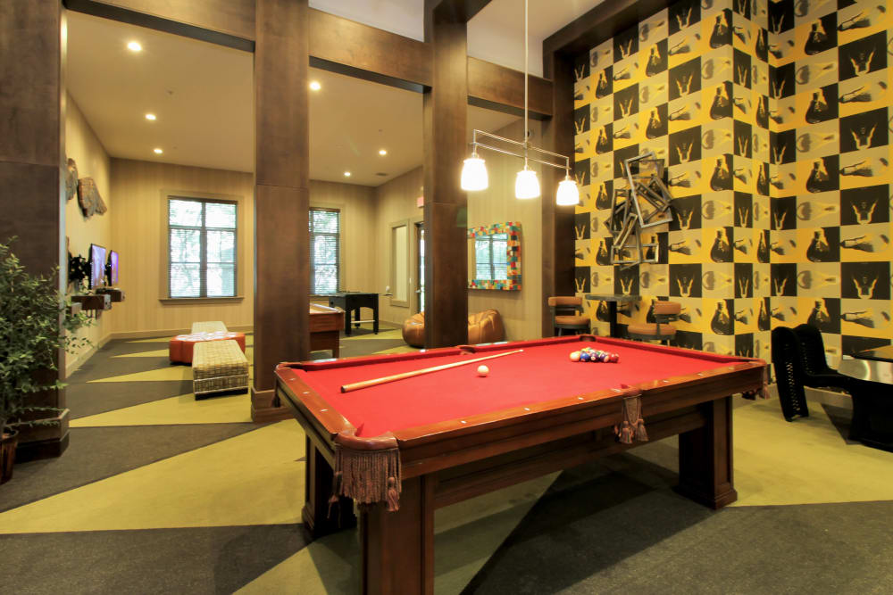 Billiards table in resident clubhouse at IMT Miramar in Miramar, FL