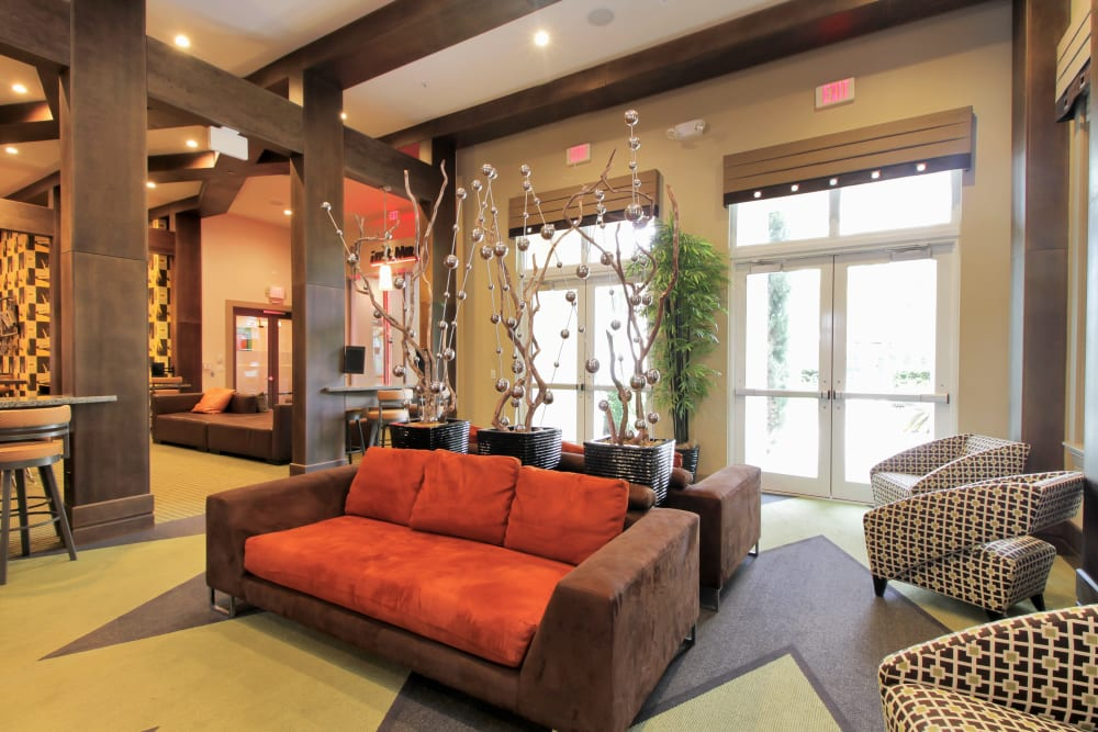Gorgeous furnishings in the resident clubhouse at IMT Miramar in Miramar, FL