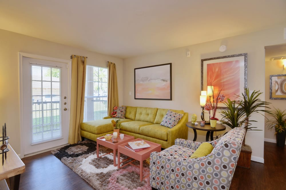 Cozy living room in model home at IMT At The Medical Center in Houston, Texas