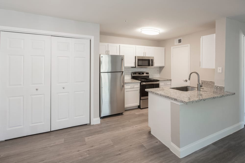 Modern kitchen and large pantry for plenty of extra storage in apartment home at IMT At The Medical Center in Houston, Texas