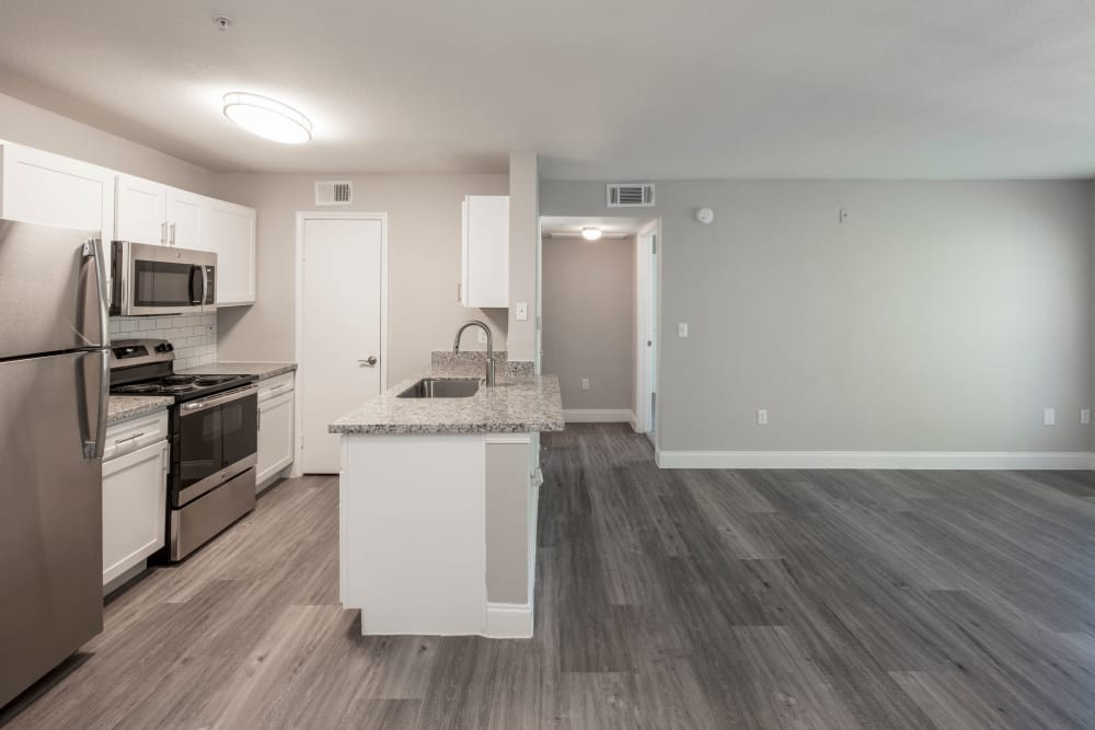 Hardwood-style floors and modern kitchen in model home at IMT At The Medical Center in Houston, Texas