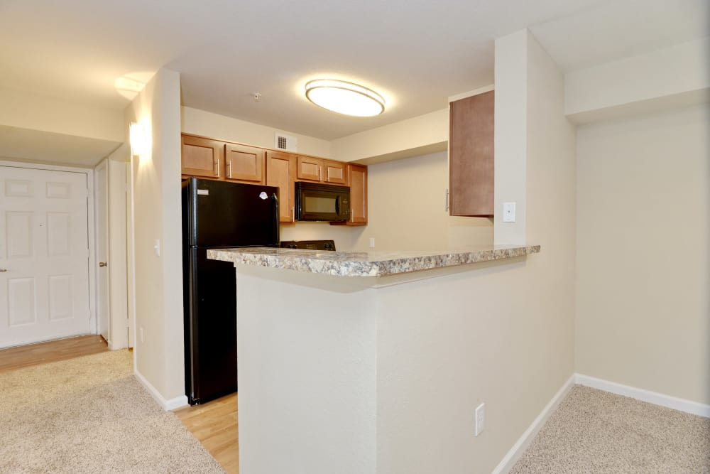 Granite countertops, light wood cabinets, and black appliances in model home kitchen at IMT At The Medical Center in Houston, Texas