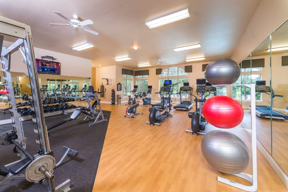 Modern fitness center at Villas of Vista Del Norte in San Antonio, Texas