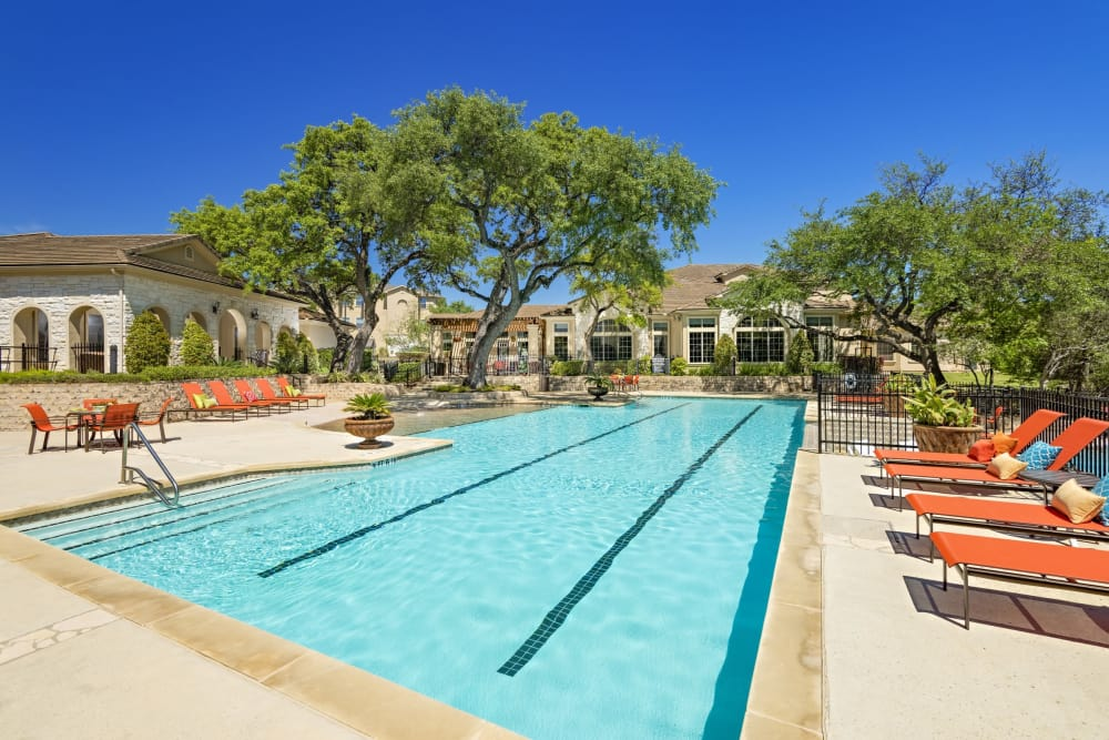 Beautiful swimming pool at apartments in San Antonio, Texas