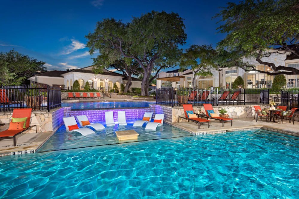 Beautiful swimming pool at Villas of Vista Del Norte in San Antonio, Texas